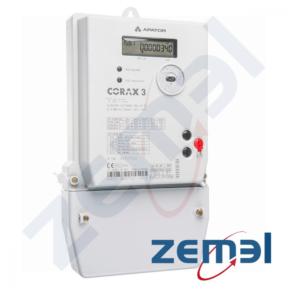 Zaawansowane Licznik elektroniczny, en. czynna, bierna (opcja) 3faz 5/80A, 3 EM45